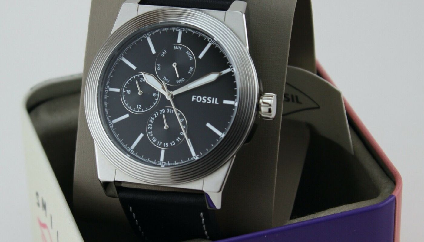 NEW AUTHENTIC FOSSIL GEOFF CHRONOGRAPH SILVER BLACK LEATHER MEN'S BQ2334 WATCH