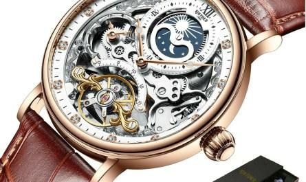 Sceleton Watch Tourbillon Style Automatic Mechanical Waterproof Gift for Men