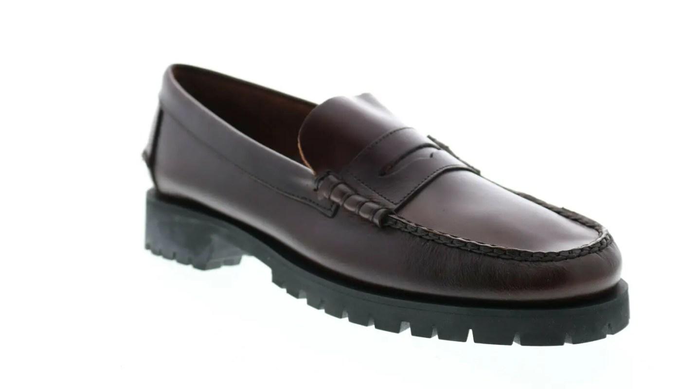 Sebago Dan Waxy Lug 7001HJ0 Mens Brown Wide Loafers & Slip Ons Penny Shoes