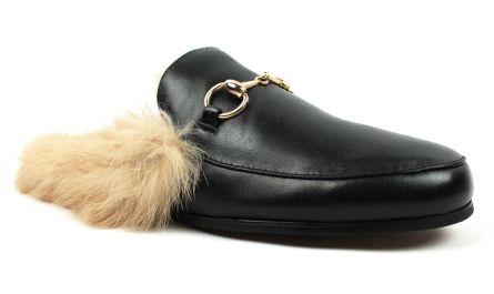 Black Backless Slip On Real Leather Fur Gold Buckle Loafers Shoes Slipper AZAR