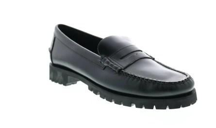 Sebago Dan Waxy Lug 7001HJ0 Mens Black Wide Loafers & Slip Ons Penny Shoes
