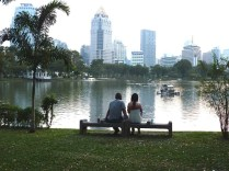 Lake in Lumpini Park - an oasis of calm in the city