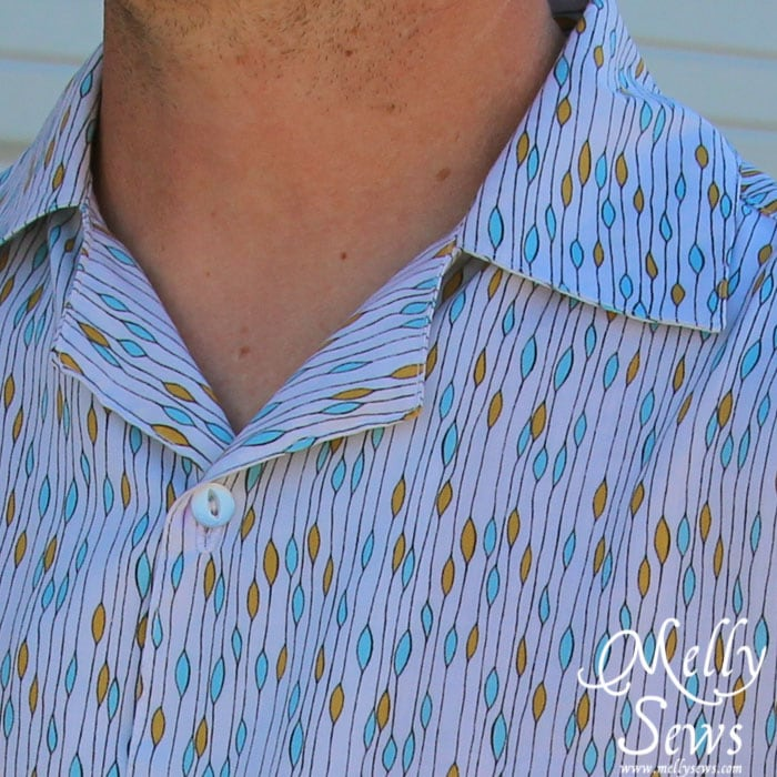 Men's Button Up Shirt by Melly Sews - Novella Rayon Rain Aqua by Free Spirit