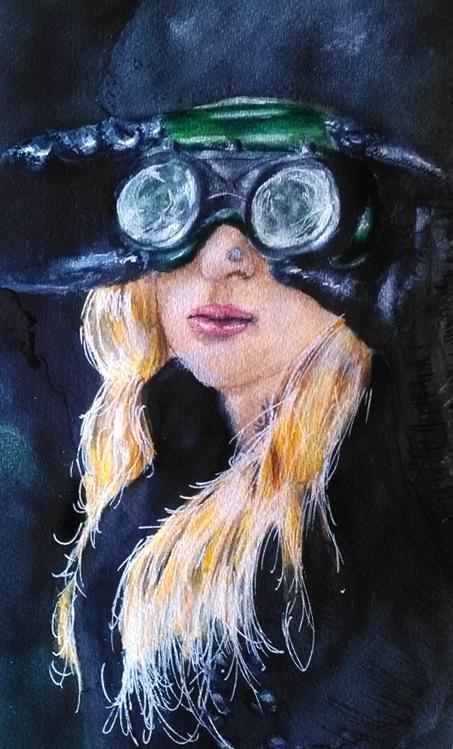Illustration femme et ses lunettes spéciales, peinture acrylique, Assilem décors, peintre en décor Bordeaux, décoration intérieure, peintre décorateur