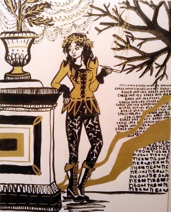 Illustration femme qui fume, noir blanc doré, encres, Assilem décors, peintre en décor Bordeaux, décoration intérieure, peinture décorative