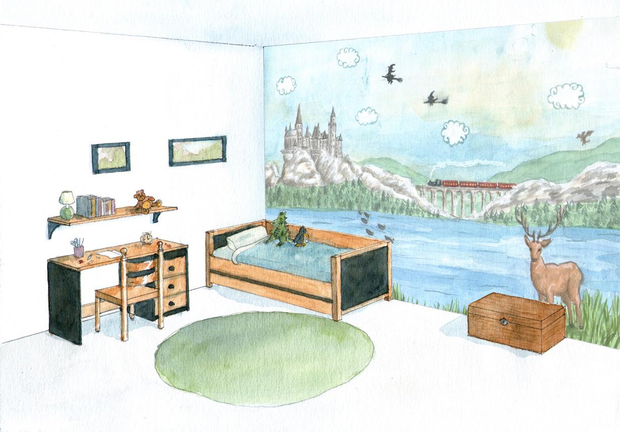 Décor mural chambre enfants magnique, Assilem décors, peintre en décor Bordeaux, décoration intérieure, Décor chambre enfants Faon mignon, Assilem décors, peintre en décor Bordeaux, décoration intérieure, peinture décorative