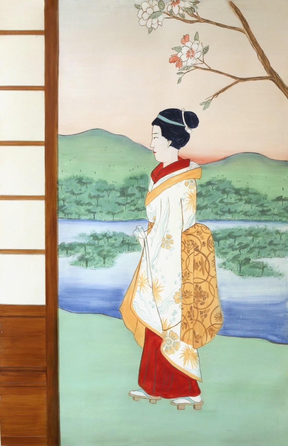 Peinture murale façon estampe japonaise, peinture à la caséine, technique ancienne. Assilem décors, peintre en décor Bordeaux, décoration intérieure, peintre décoratrice