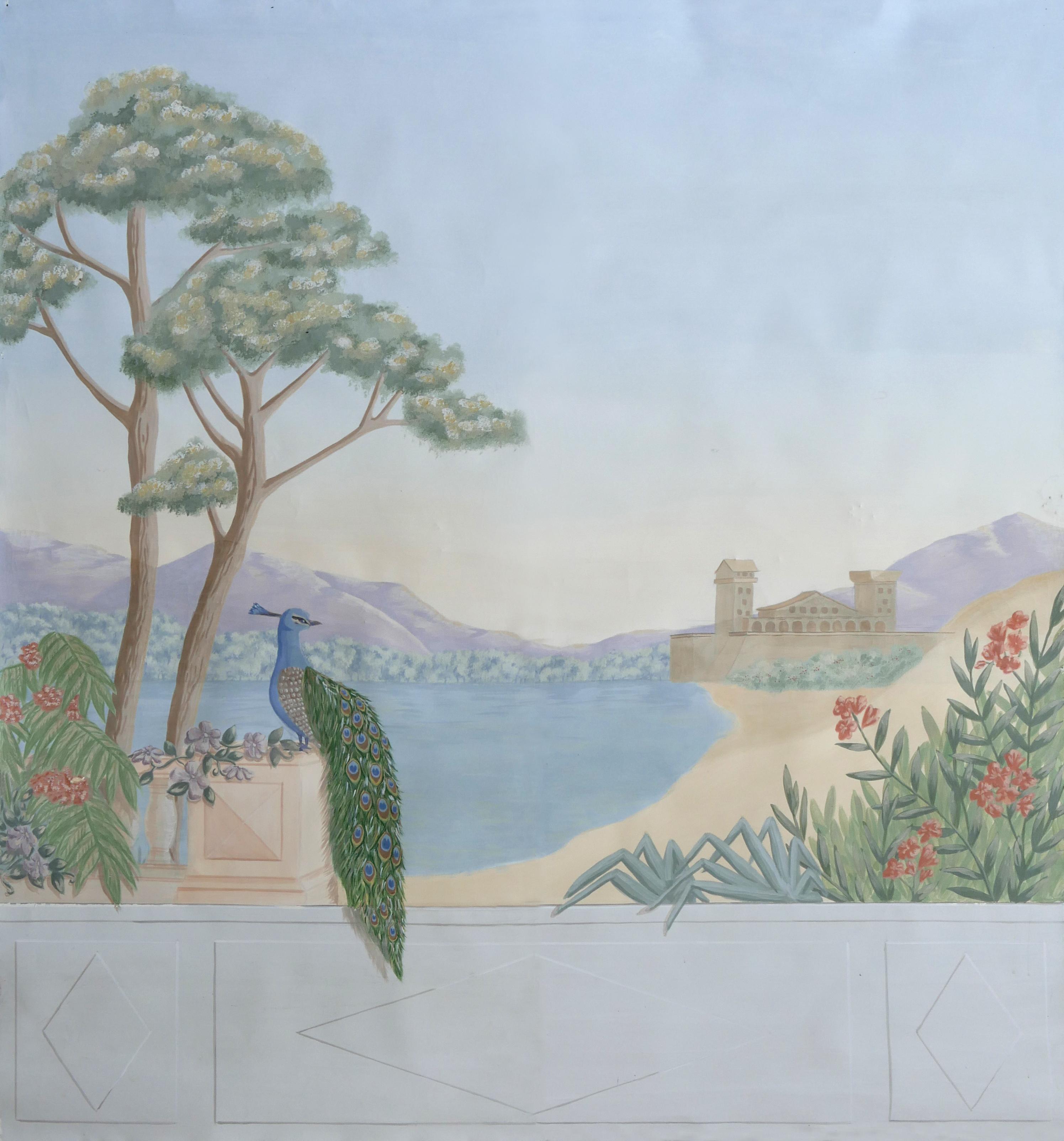 Décor paon et montagnes, inspiration Zuber. Assilem Décors, peintre décoratrice, peintre en décor à Bordeaux