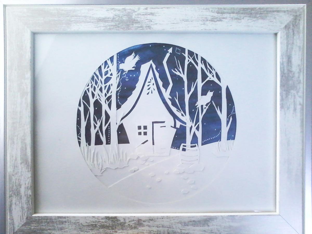 Maison dans la forêt en papier découpé, paper art, Assilem décors, peintre en décor Bordeaux, décoration intérieure, peintre décorateur