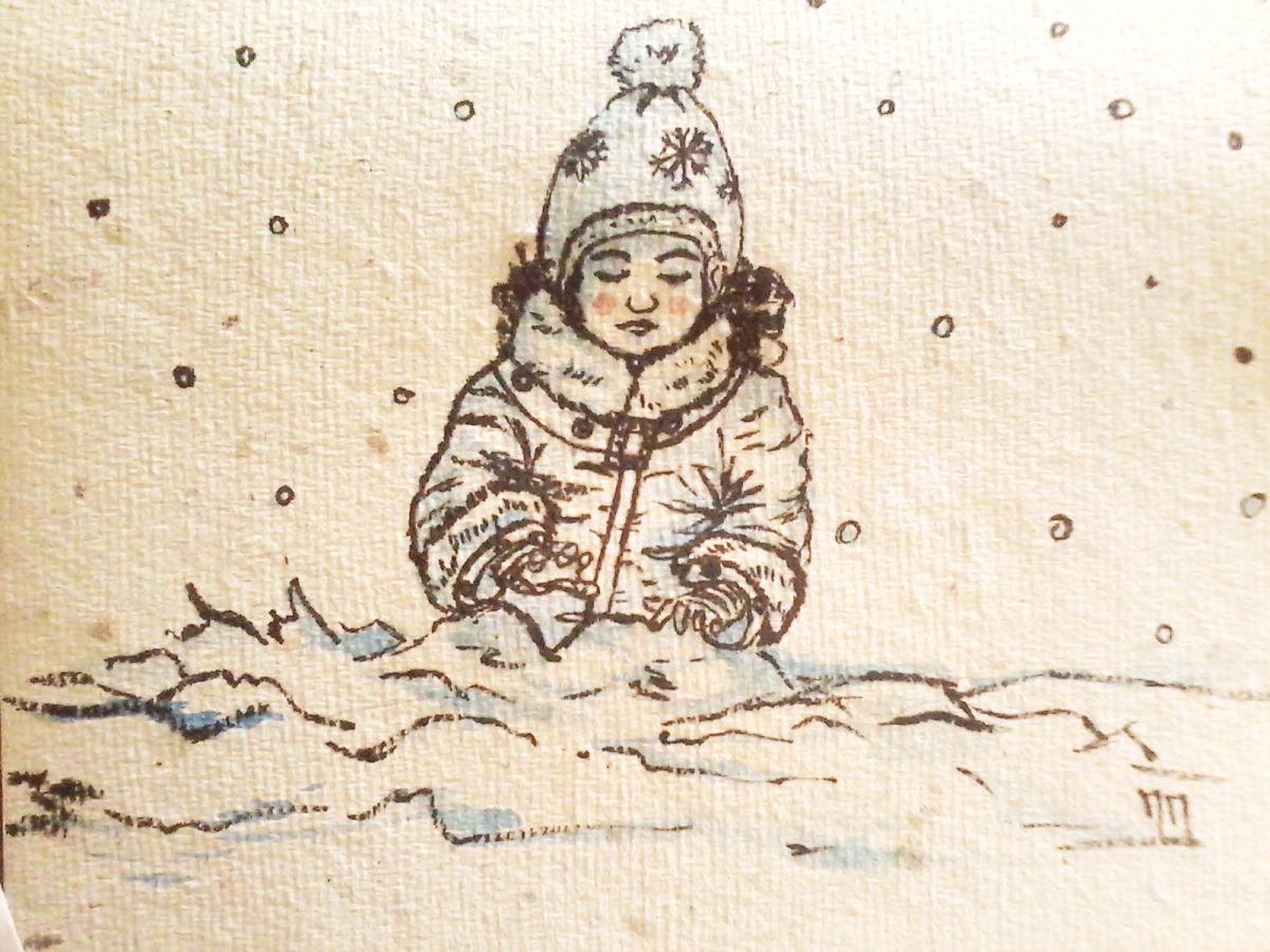 Illustration Petite fille dans la neige, aquarelle et encre, Assilem décors, peintre en décor Bordeaux, décoration intérieure, peintre décorateur