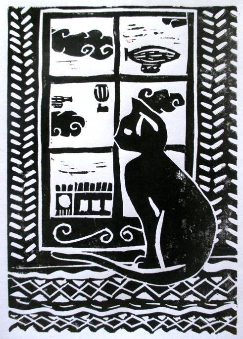 Linogravure Chat à la fenêtre, Assilem décors, peintre en décor Bordeaux, décoration intérieure, peinture décorative
