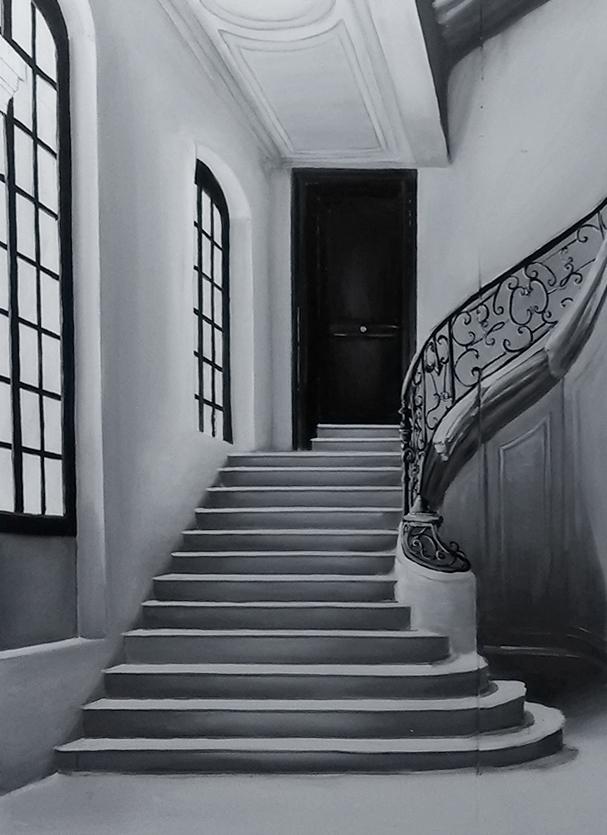 Décor de scène, cage d'escalier, noir et blanc, peinture acrylique. Assilem décors, peintre en décor Bordeaux, décoration intérieure, peintre décorateur