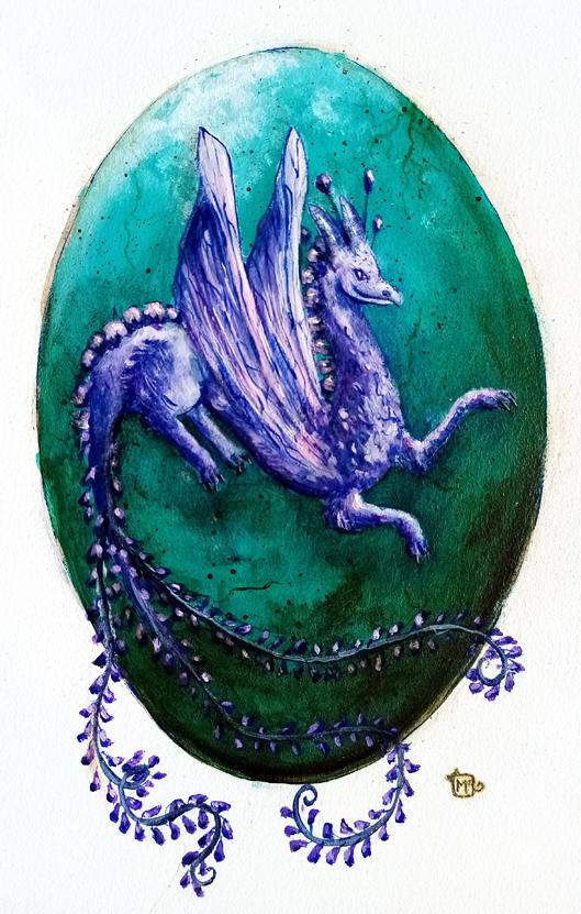 Illustration Dragon violet fanart Chane, peinture acrylique. Assilem décors, peintre décoratrice, peintre en décor à Bordeaux