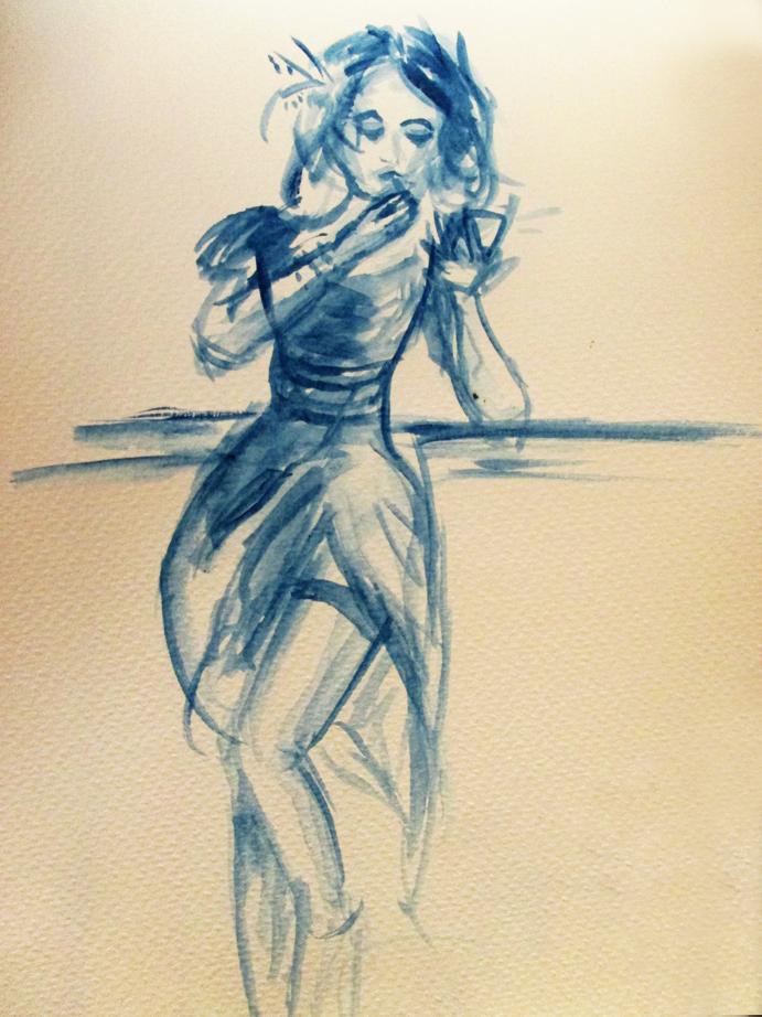 Illustration floue Femme cabaret, aquarelle, Assilem décors, peintre en décor Bordeaux, décoration intérieure, peintre décoratrice