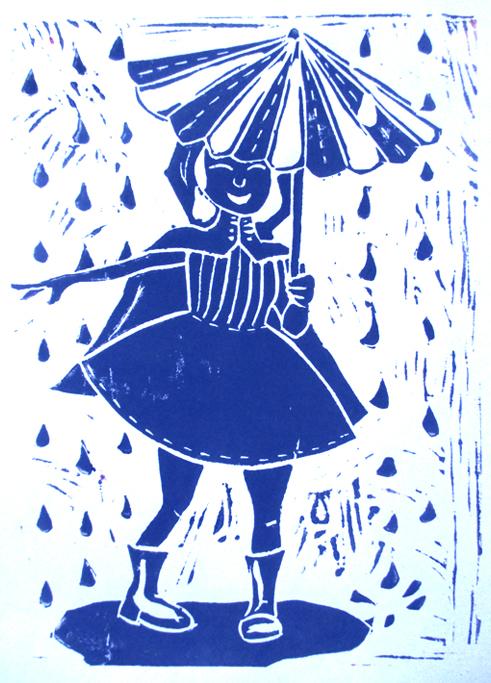 Linogravure Fille au parapluie, Assilem décors, peintre en décor Bordeaux, décoration intérieure, peintre décoratrice