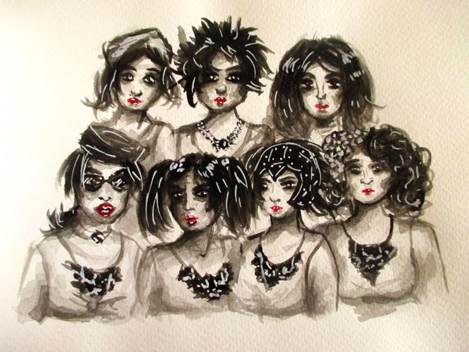 Illustration groupe de femmes, aquarelle, Assilem décors, peintre en décor Bordeaux, décoration intérieure, peinture décorative
