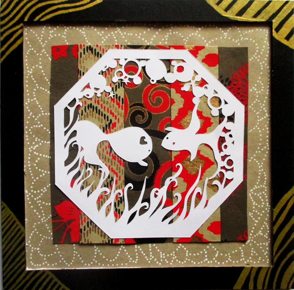 Poissons et bulles en papier découpé, paper art, Assilem décors, peintre en décor Bordeaux, décoration intérieure, peinture décorative