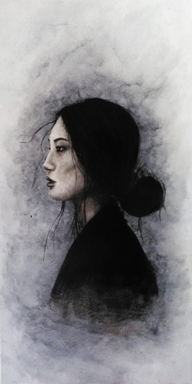 Décor femme dans le brouillard, noir et blanc. Assilem Décors, peintre décorateur, peintre en décor à Bordeaux