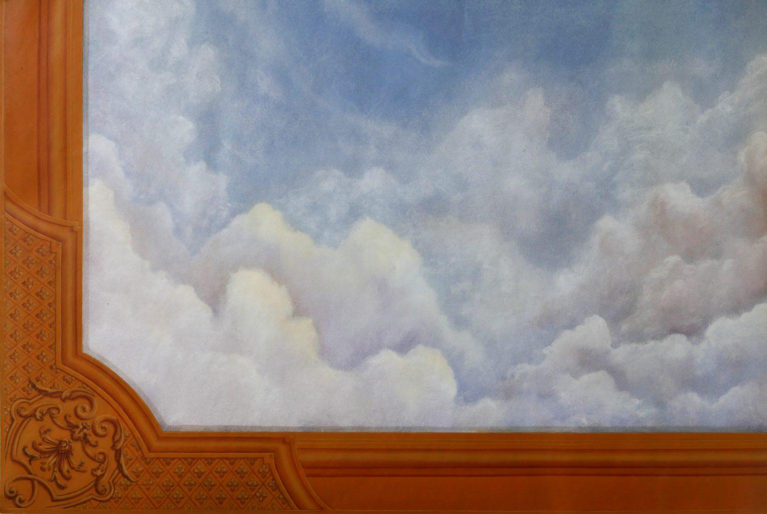 Décor ciel façon XVIIe siècle et son écoinçon, peintre en décor Bordeaux, artisanat d'art