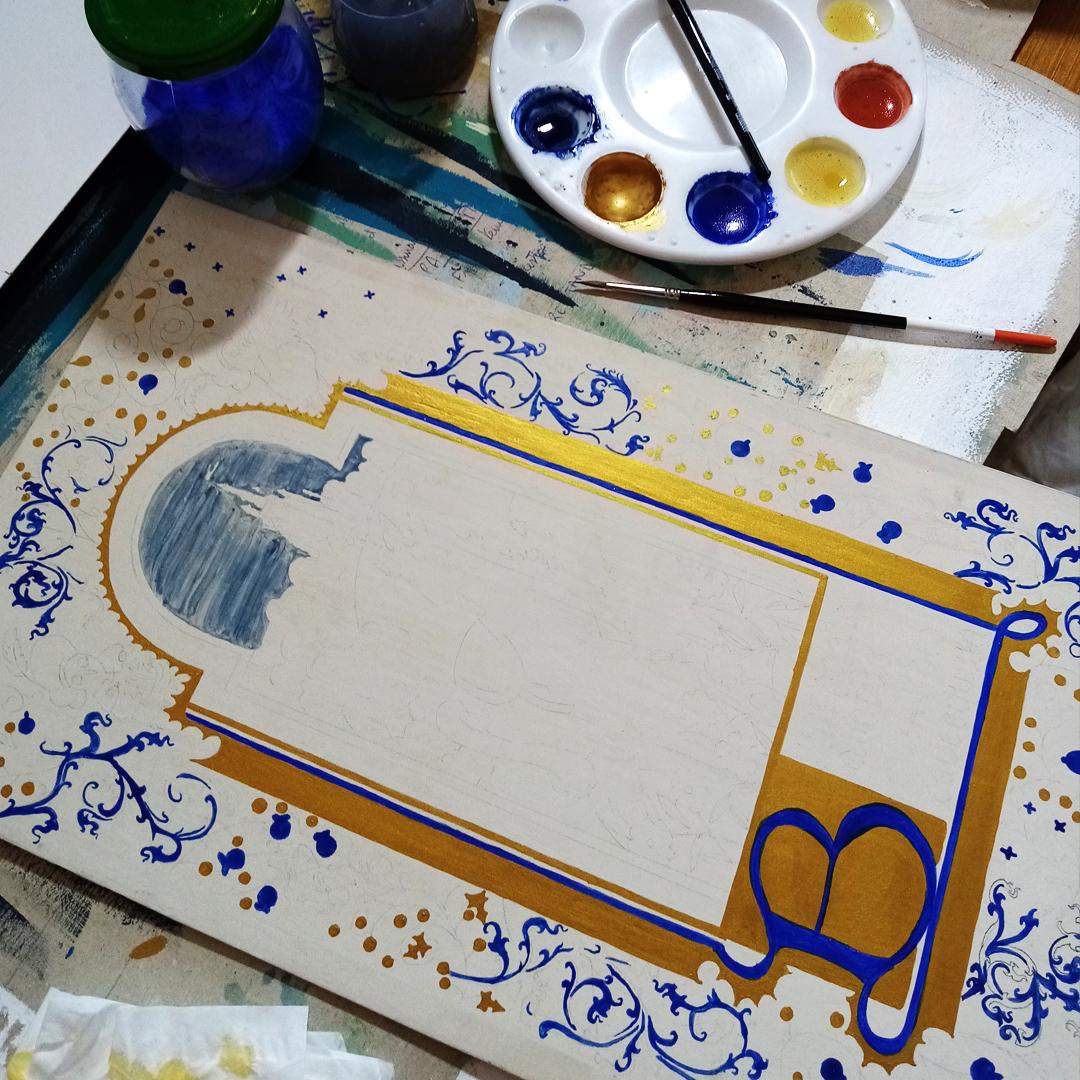 Pastiche d'enluminure médiévale en cours de réalisation, avec peinture à l'oeuf. Assilem décors, peinture décorative, peintre en décor à Bordeaux