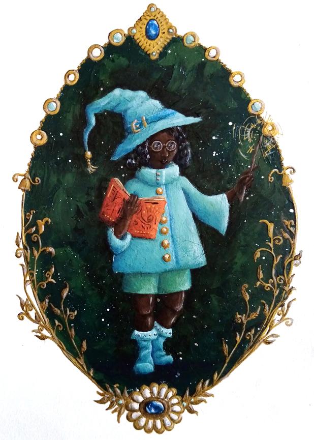Illustration petite sorcière verte et bleue, peinture acrylique. Assilem décors, peintre décorateur, peintre en décor à Bordeaux