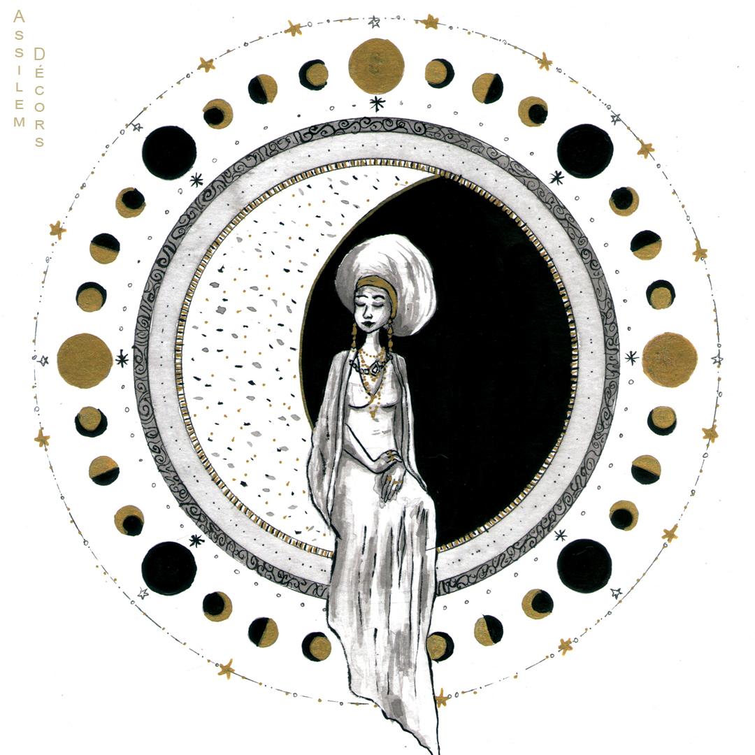 Illustration Sélénite, une femme et la lune, encres, peintre en décor Bordeaux, décoration intérieure.