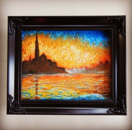 """Monet's """"Sunset in Venice"""" done with royal icing"""