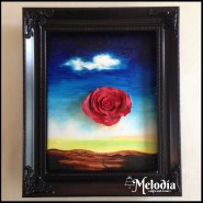 meditative rose dali painting on a cake food coloring gum paste