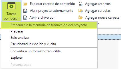 Preparar sin la memoria de traducción del proyecto