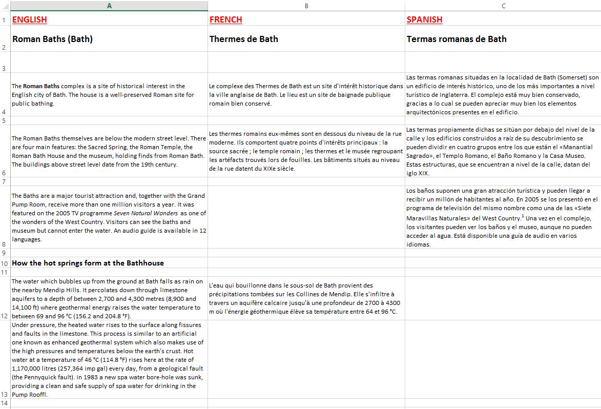 Ejemplo de hojas de Excel multilingües