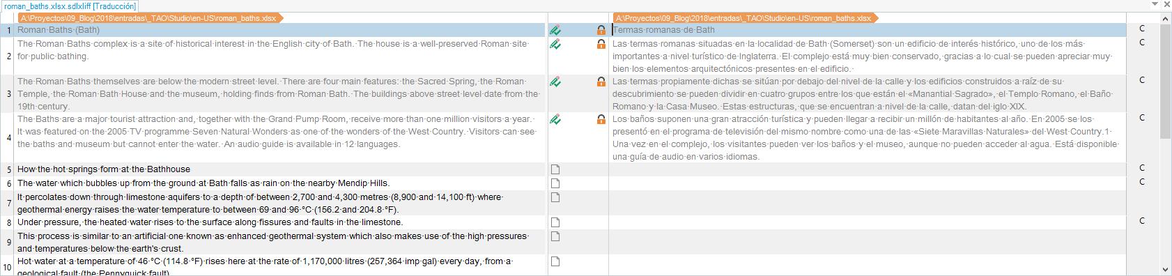 SDLXLIFF en el editor tras aplicar el filtro Excel bilingüe