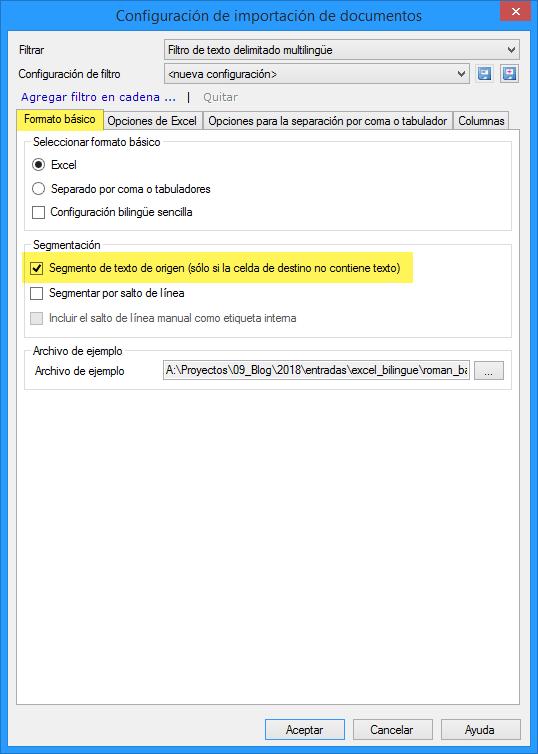 Configuración del filtro de texto delimitado multilingüe de memoQ