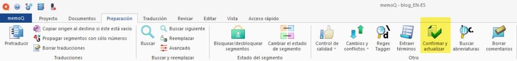 Podemos actualizar nuestras memorias con los cambios procedentes de los archivos traducidos con cambios