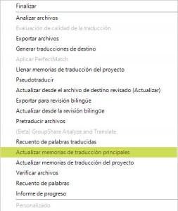 Actualizar memorias de traducción principales dentro de la lista desplegable de Tareas por lotes