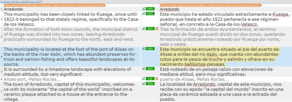 En la captura del ejemplo vemos un extracto del archivo de origen ya traducido completamente.