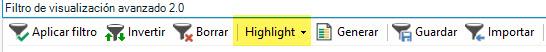 Mediante el botón Highlight, podemos resaltar los segmentos que cumplan el filtro