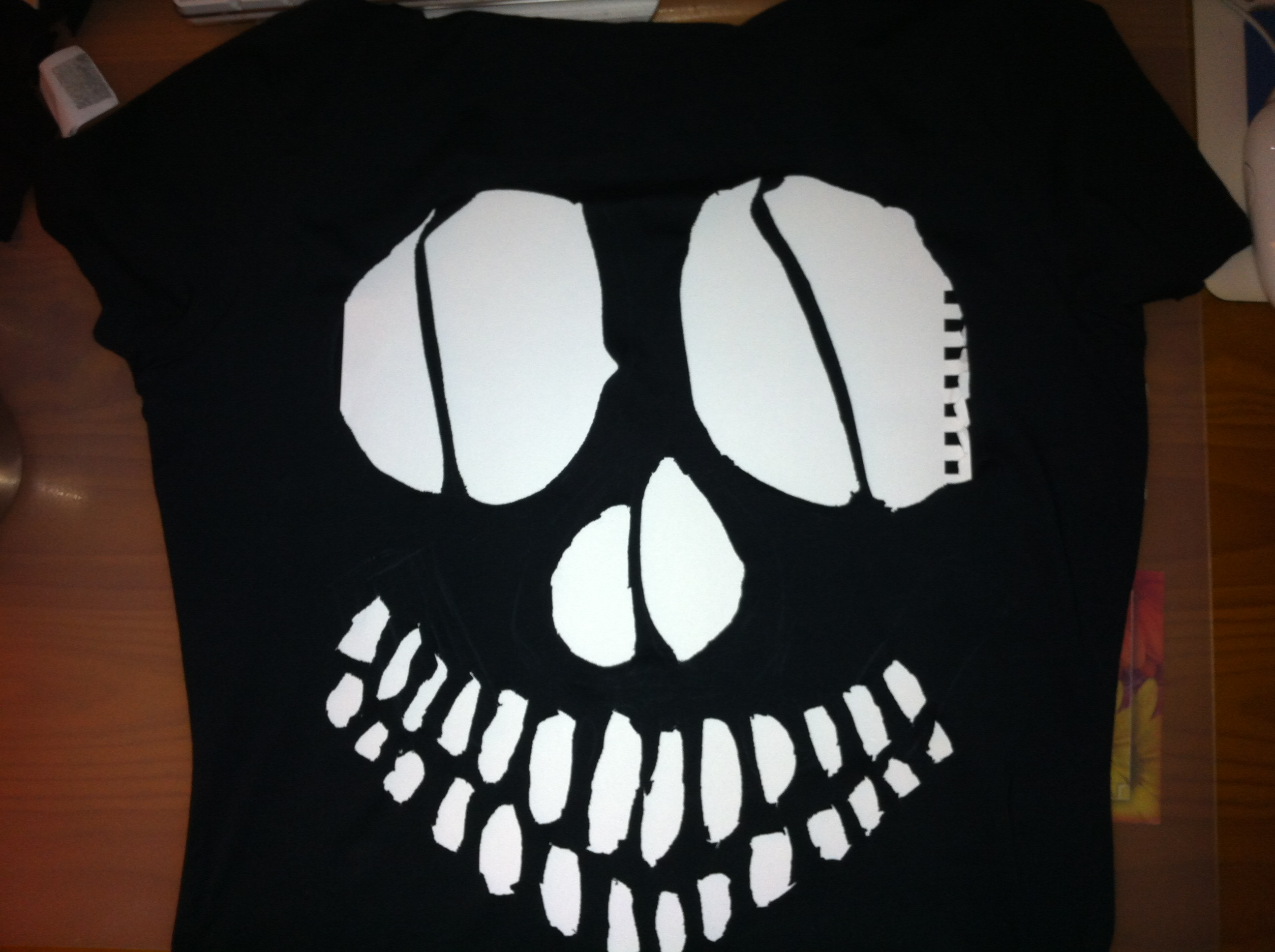 Diy Skull Cut Out Off Shoulder T Shirt