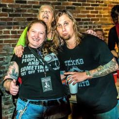 Melodie posing with Nel Hoon and Travis Warren while covering the Blind Melon 2016 New Year's shows at the Lafayette Theater in Lafayette, Indiana