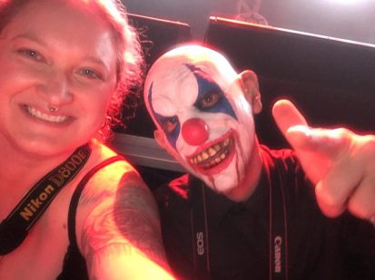 Melodie and Casey Diaz posing in the photo pit at the Lafayette Theater while covering Tech N9ne in September 2016