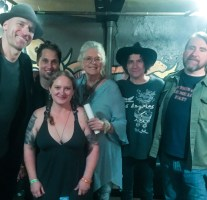 Melodie posing with Blind Melon and Nel Hoon after shooting Blind Melon at Cervantes in Denver, Colorado in October 2017