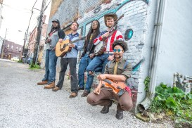 Gangstagrass spends time hanging in Fountain Square for a promo shoot before their show at the HiFi on Wednesday, May 15, 2019. Photo cred Melodie Yvonne