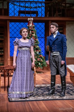 Purdue Theatre's production of Miss Bennet: Christmas at Pemberley by Lauren Gunderson and Margot Melcon and directed by Kristine Holtvedt is an extraordinary sequel to Pride & Prejudice performed by a phenomenal cast. Show runs November 8 – 17, 2019 at the Nancy T. Hansen Theatre in Yue-Kong Pao Hall of Visual and Performing Arts. Photo cred Melodie Yvonne