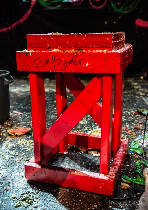 Brian Tschuor works as production manager and lighting technician for The Vogue Theatre in Indianapolis, Indiana. He built this table for Gallagher in November 2019. Photo cred Melodie Yvonne