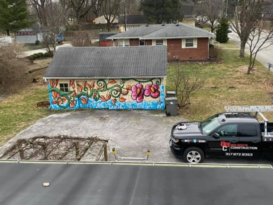Big Boy Construction, a local business out of Beech Grove, installs a new roof on the Photographic Melodie Gallery and outdoor event space in Southport, Indiana on March 2, 2021. Photos courtesy of Big Boy's Construction.