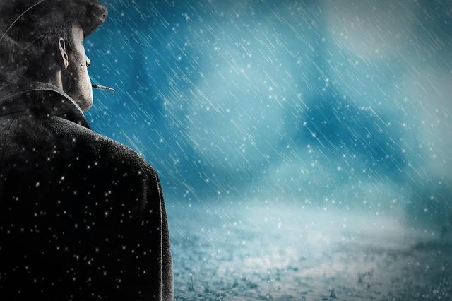 Sad Man in Rain