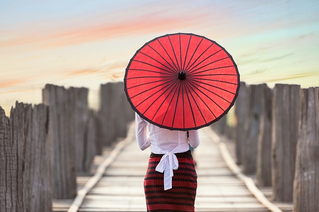 Umbrella Woman on Bridge