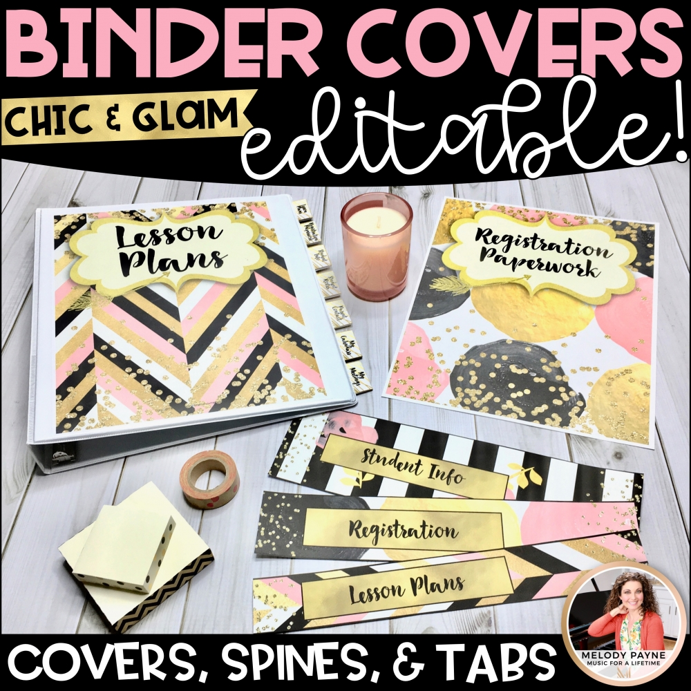 Chic &Glam Binder Covers Spines Tabs Preview