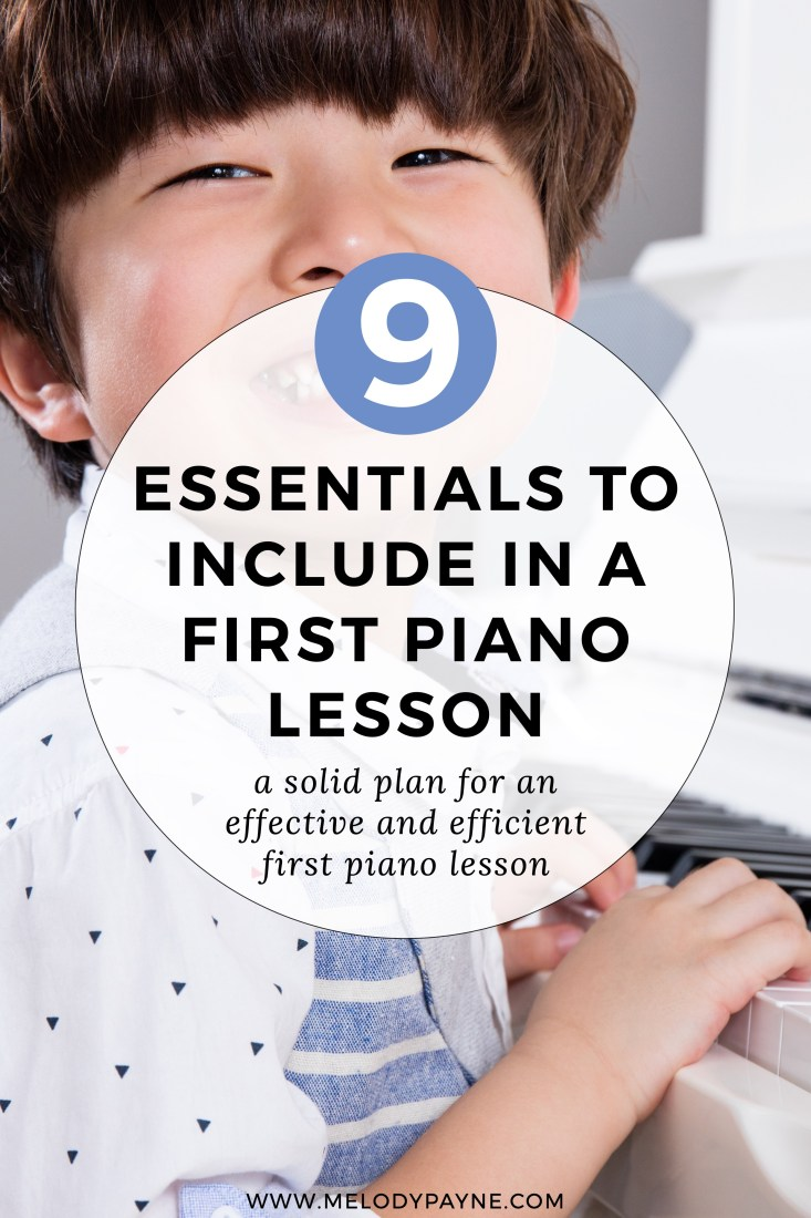 Little boy at his first piano lesson