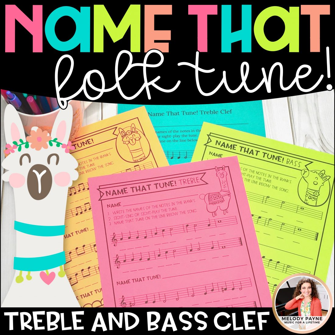 Name That Folk Tune Music Worksheets Treble And Bass