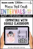 BOOM Cards: Intervals 5ths, 6ths, 7ths, Octaves by Melody Payne